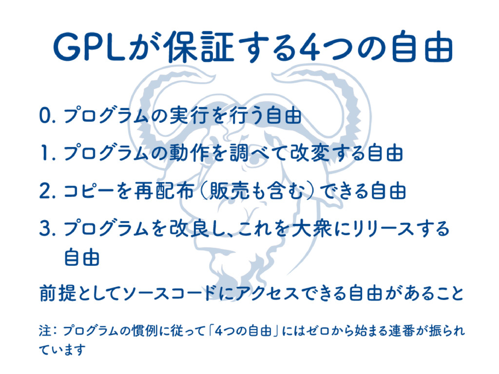 GPLが保証する4つの自由 0. プログラ ムの実行を行う自由 1. プログラ ムの動作を調...