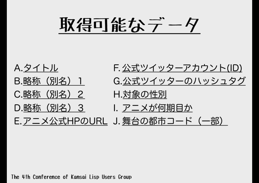取得可能なデータ The 4th Conference of Kansai Lisp User...