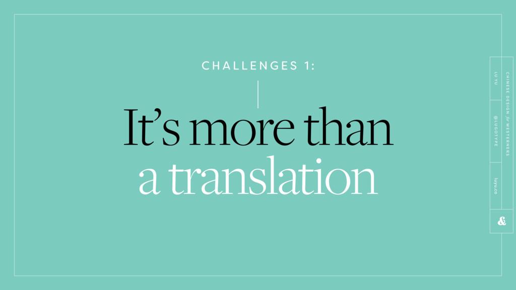 C H A L L E N G E S 1 : It's more than a transl...