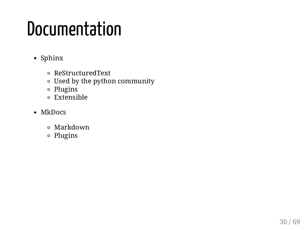 Documentation Sphinx ReStructuredText Used by t...