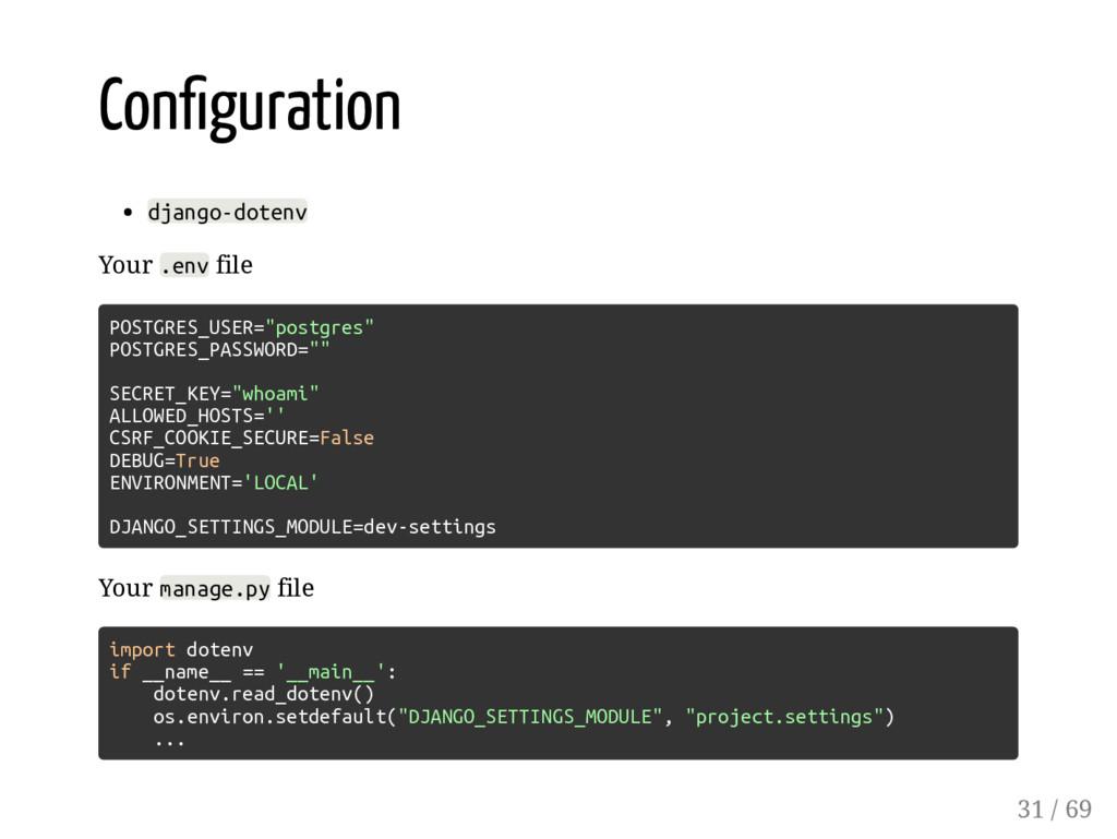 Con guration django-dotenv Your .env file POSTG...