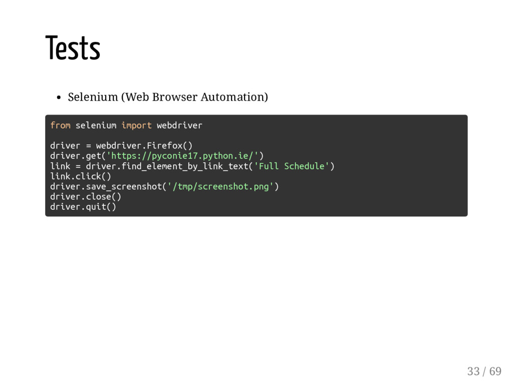 Tests Selenium (Web Browser Automation) from se...
