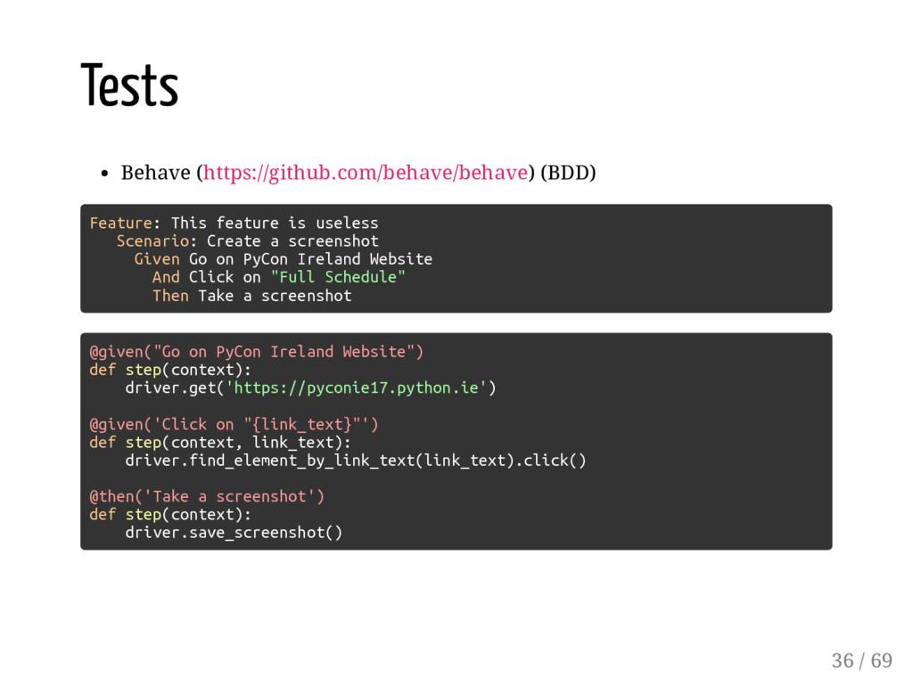 Tests Behave (https://github.com/behave/behave)...