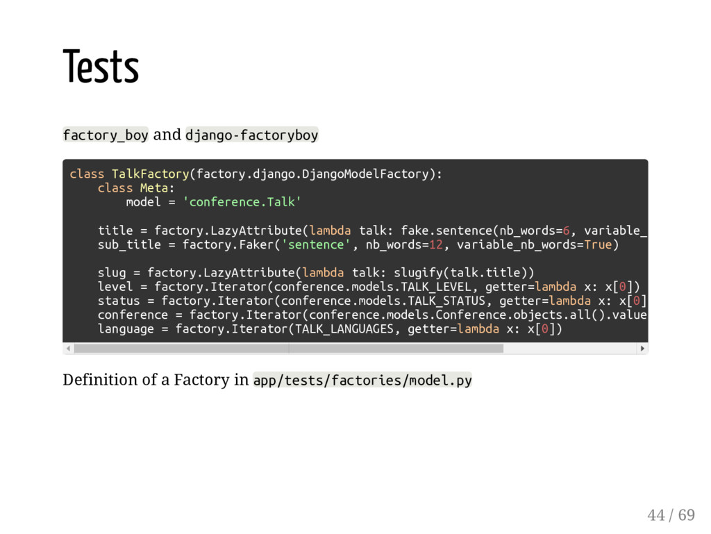 Tests factory_boy and django-factoryboy Definit...