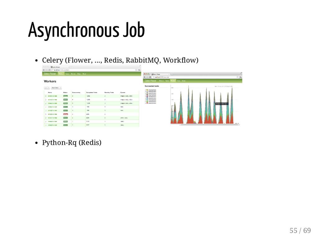 Asynchronous Job Celery (Flower, ..., Redis, Ra...