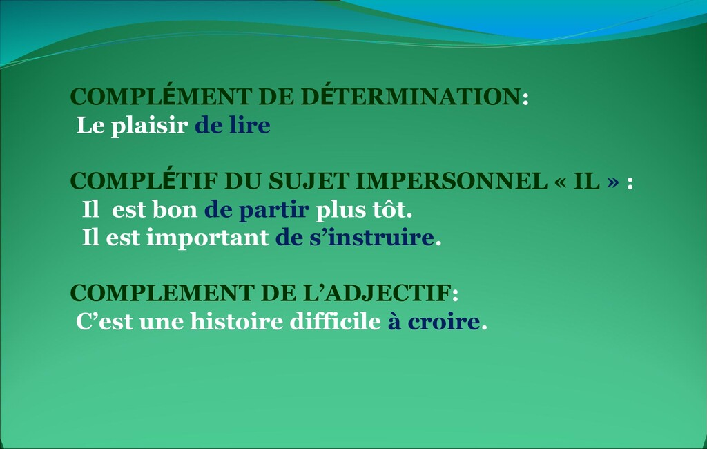 COMPLÉMENT DE DÉTERMINATION: Le plaisir de lire...