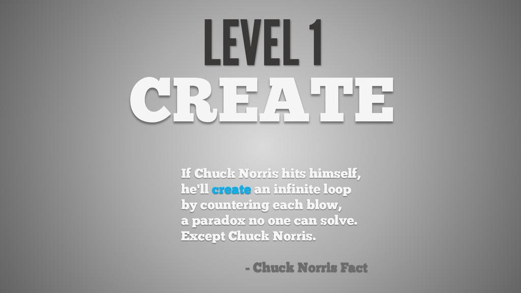 CREATE If Chuck Norris hits himself, he'll crea...