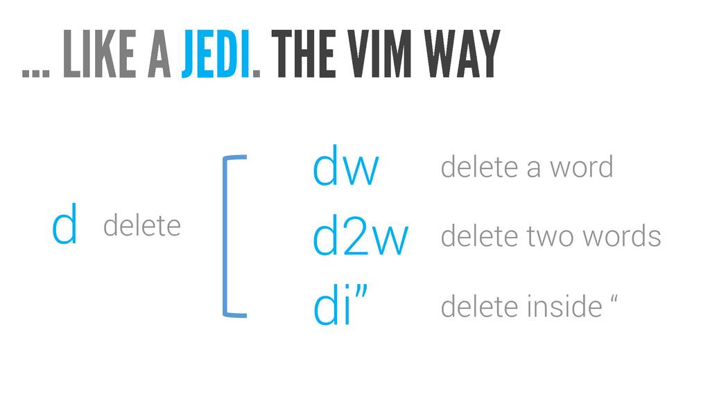 """dw delete a word d2w delete two words di"""" delet..."""