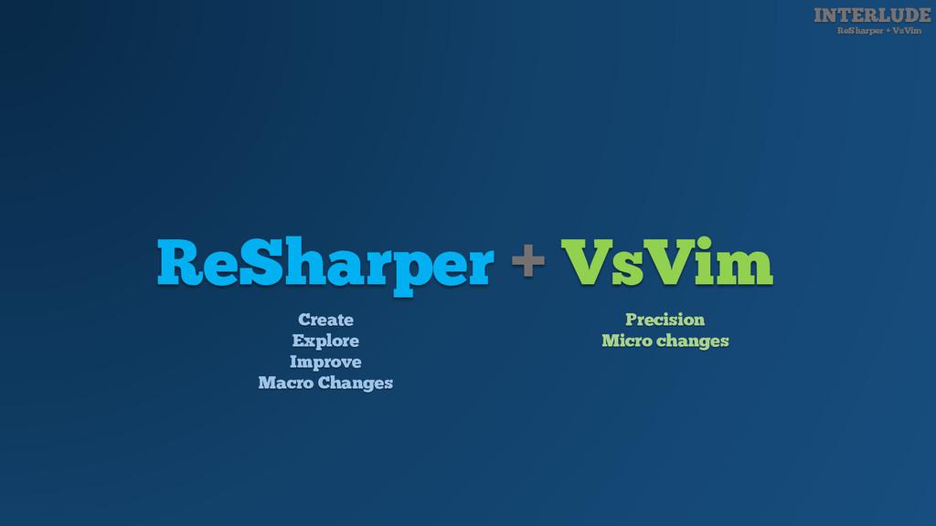 INTERLUDE ReSharper + VsVim ReSharper + VsVim C...
