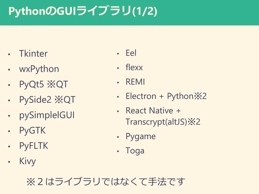 PythonのGUIライブラリ(1/2) • Tkinter • wxPython • PyQ...
