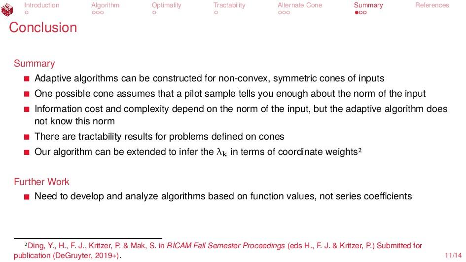 Introduction Algorithm Optimality Tractability ...