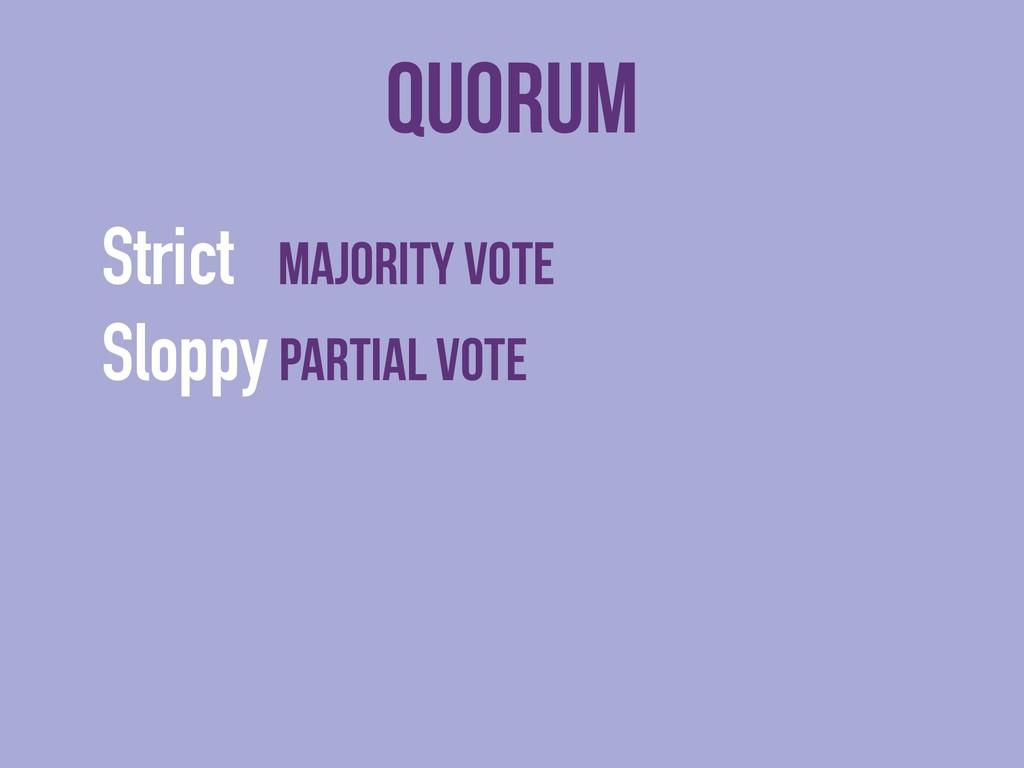 Quorum Strict majority vote Sloppy partial vote