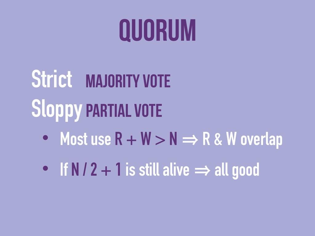 Quorum Strict majority vote Sloppy partial vote...