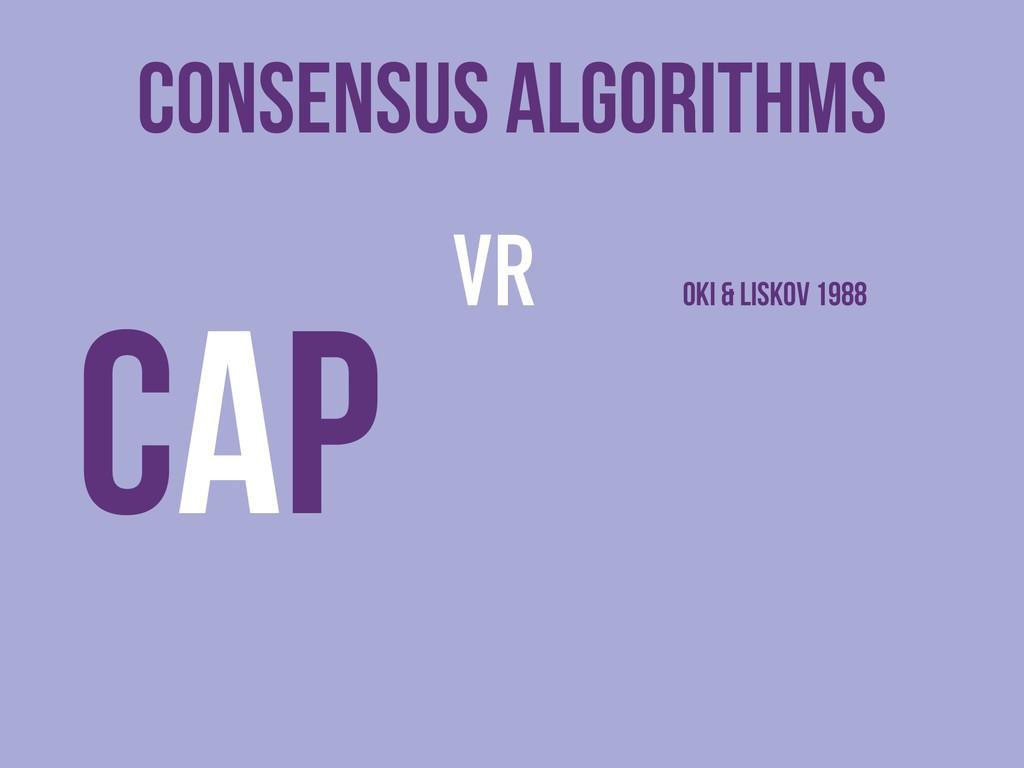 Consensus Algorithms VR Oki & liskov 1988 CAP