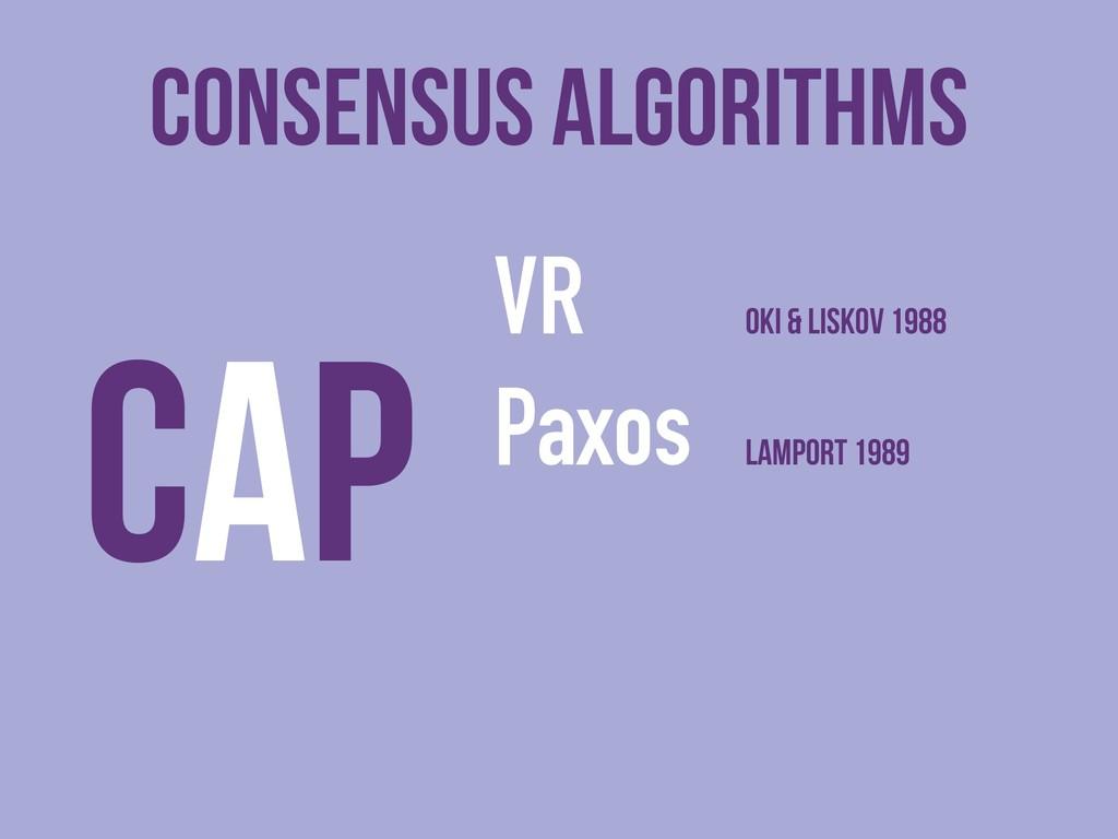 Consensus Algorithms VR Oki & liskov 1988 Paxos...