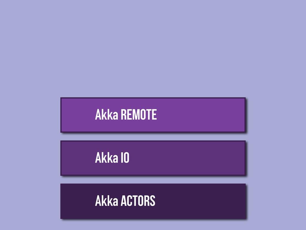 Akka Actors Akka IO Akka REMOTE