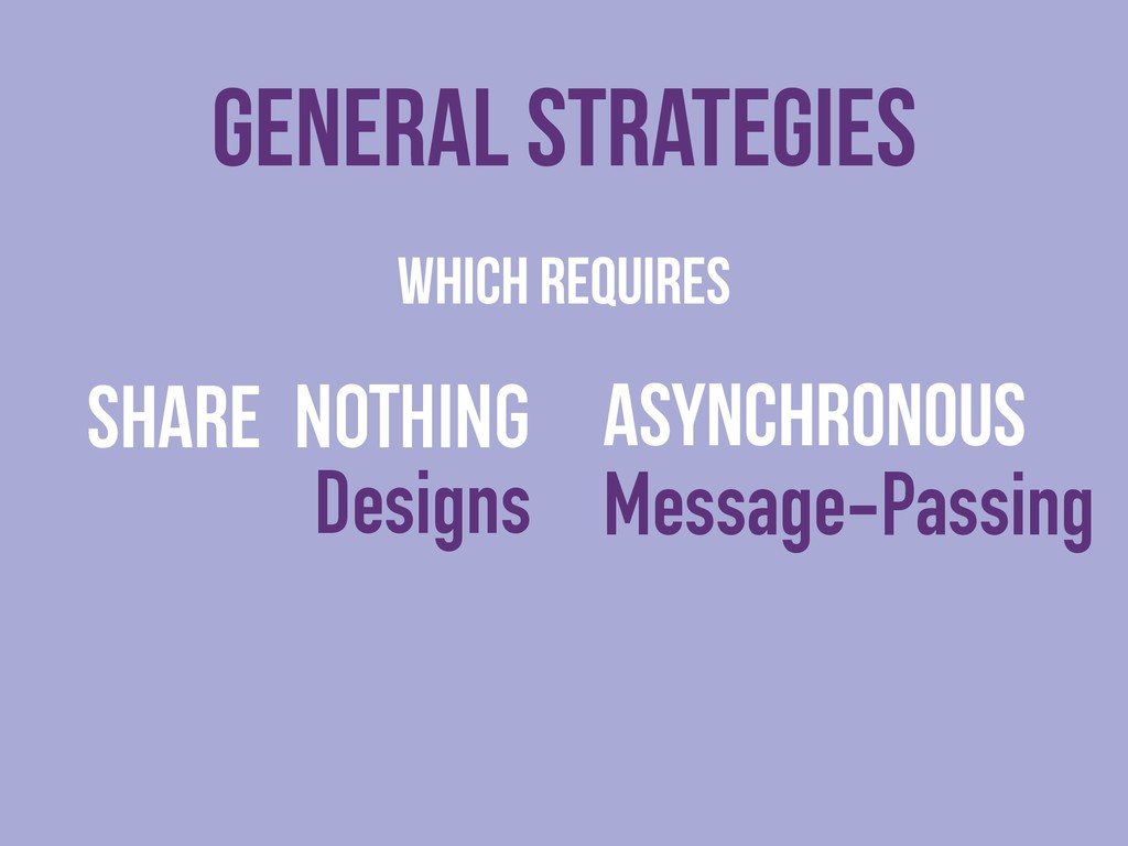 WHICH Requires SHARE NOTHING Designs General s...