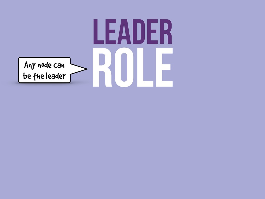 ROLE LEADER Any node can be the leader