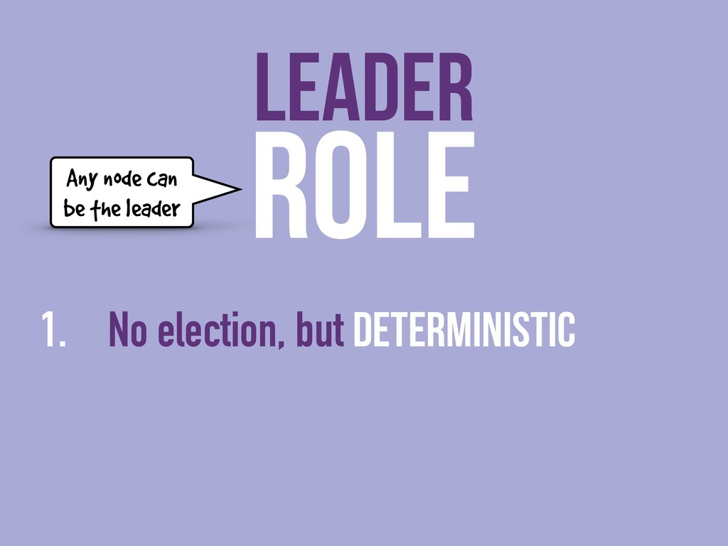 ROLE 1. No election, but deterministic LEADER A...