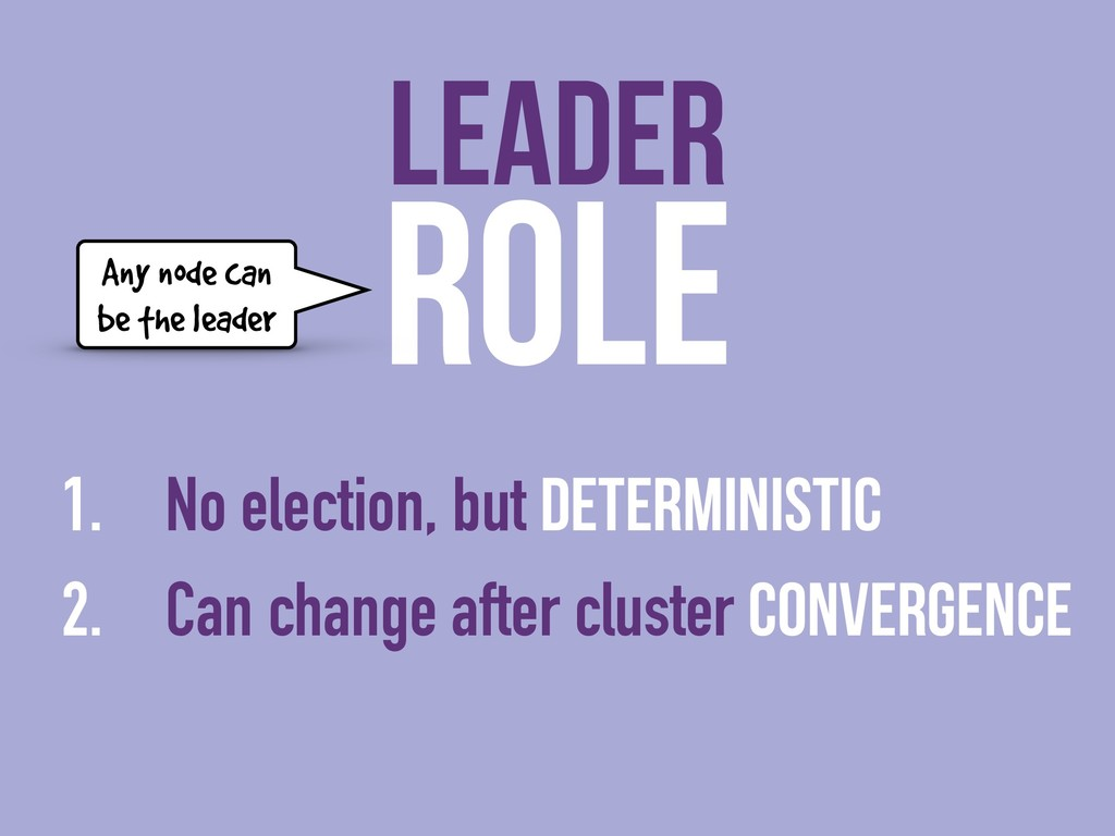 ROLE 1. No election, but deterministic 2. Can c...