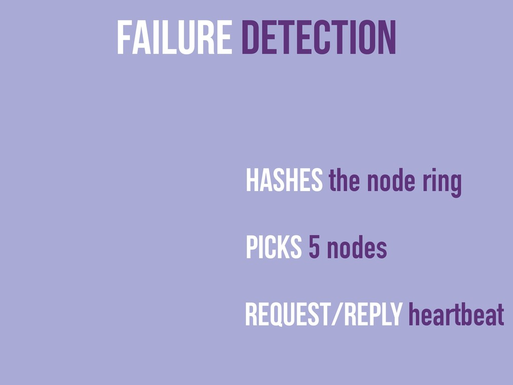 Failure Detection Hashes the node ring Picks 5 ...