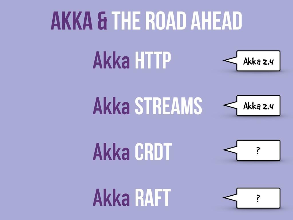 Akka & The Road Ahead Akka HTTP Akka Streams Ak...