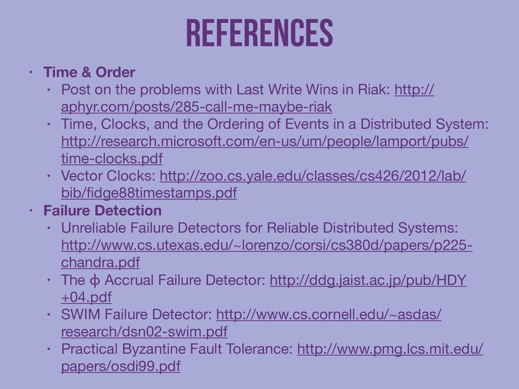 References • Time & Order • Post on the problem...