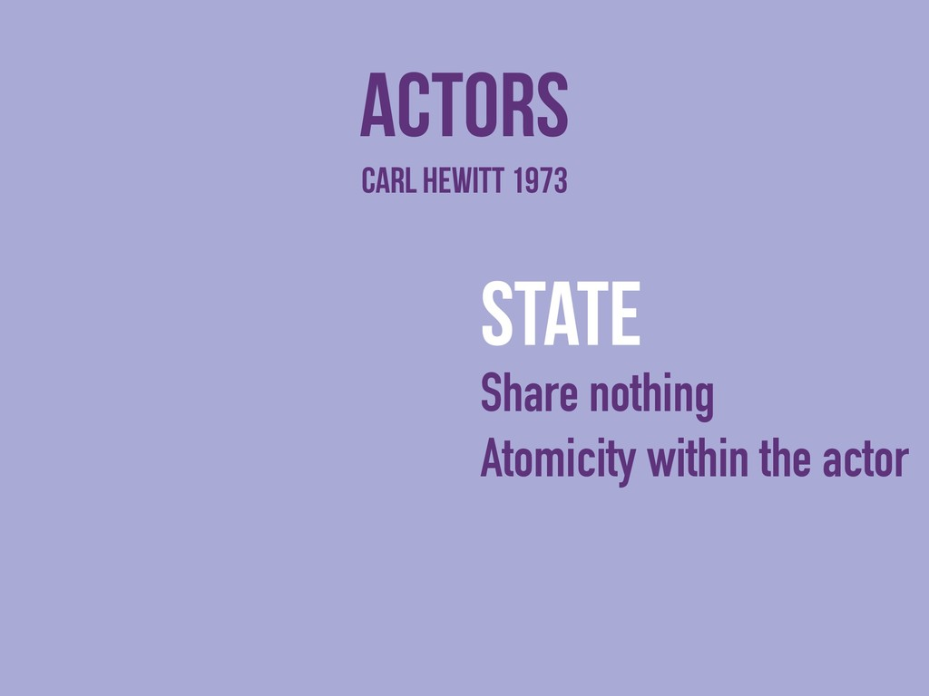 actors state Share nothing Atomicity within the...
