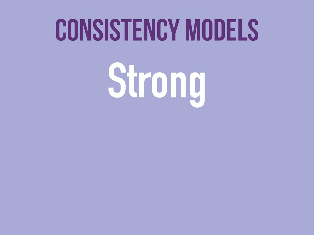 Consistency models Strong