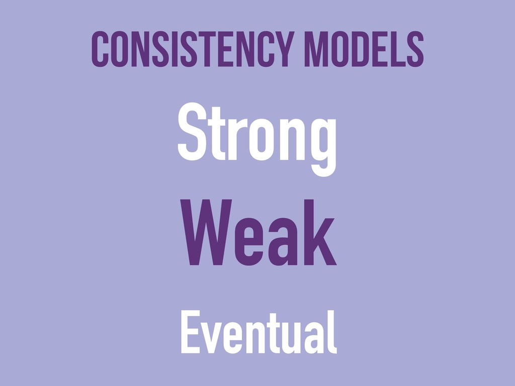 Consistency models Strong Weak Eventual