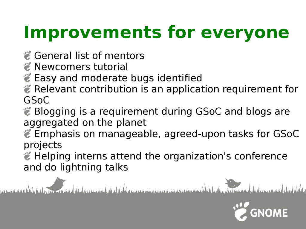 Improvements for everyone General list of mento...