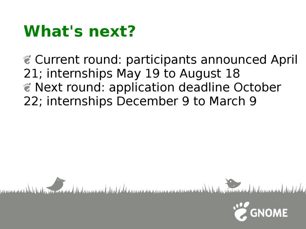 What's next? Current round: participants announ...