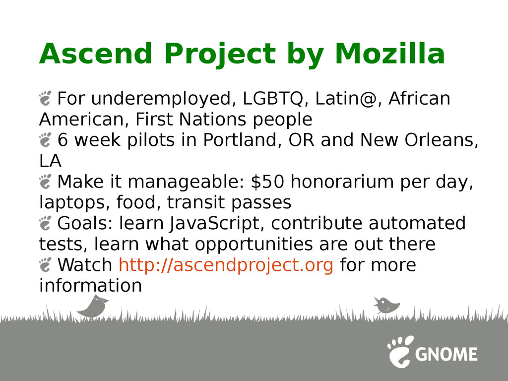 Ascend Project by Mozilla For underemployed, LG...