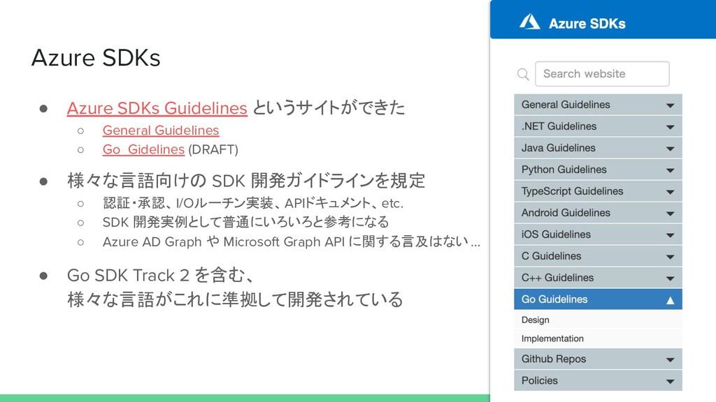 Azure SDKs ● Azure SDKs Guidelines というサイトができた ○...