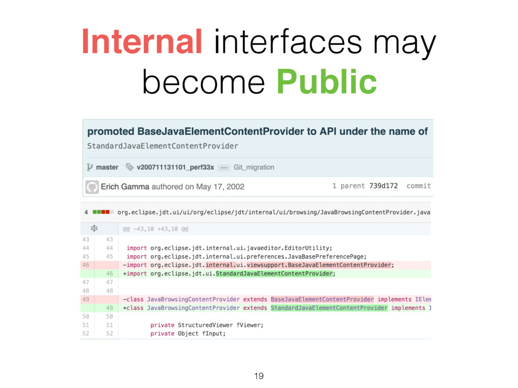 Internal interfaces may become Public 19
