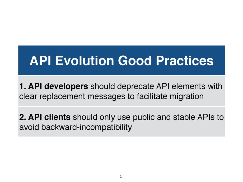 API Evolution Good Practices 1. API developers ...