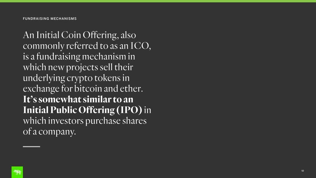 FUNDRAISING MECHANISMS 52 An Initial Coin Offer...