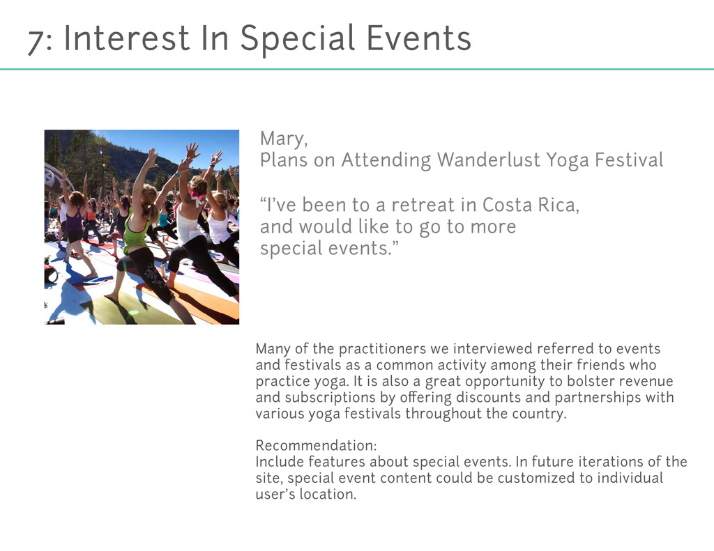 7: Interest In Special Events Many of the pract...