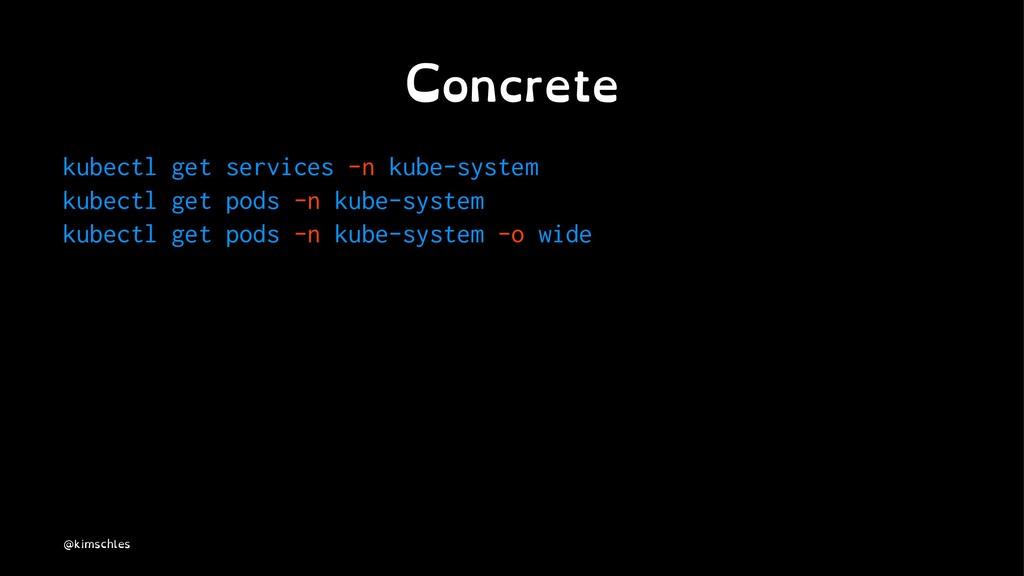 Concrete kubectl get services -n kube-system ku...