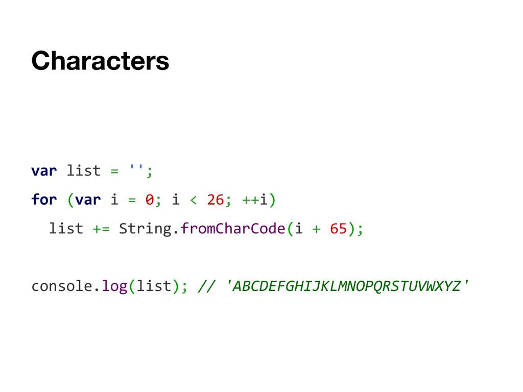 Characters var list = ''; for (var i = 0; i < 2...