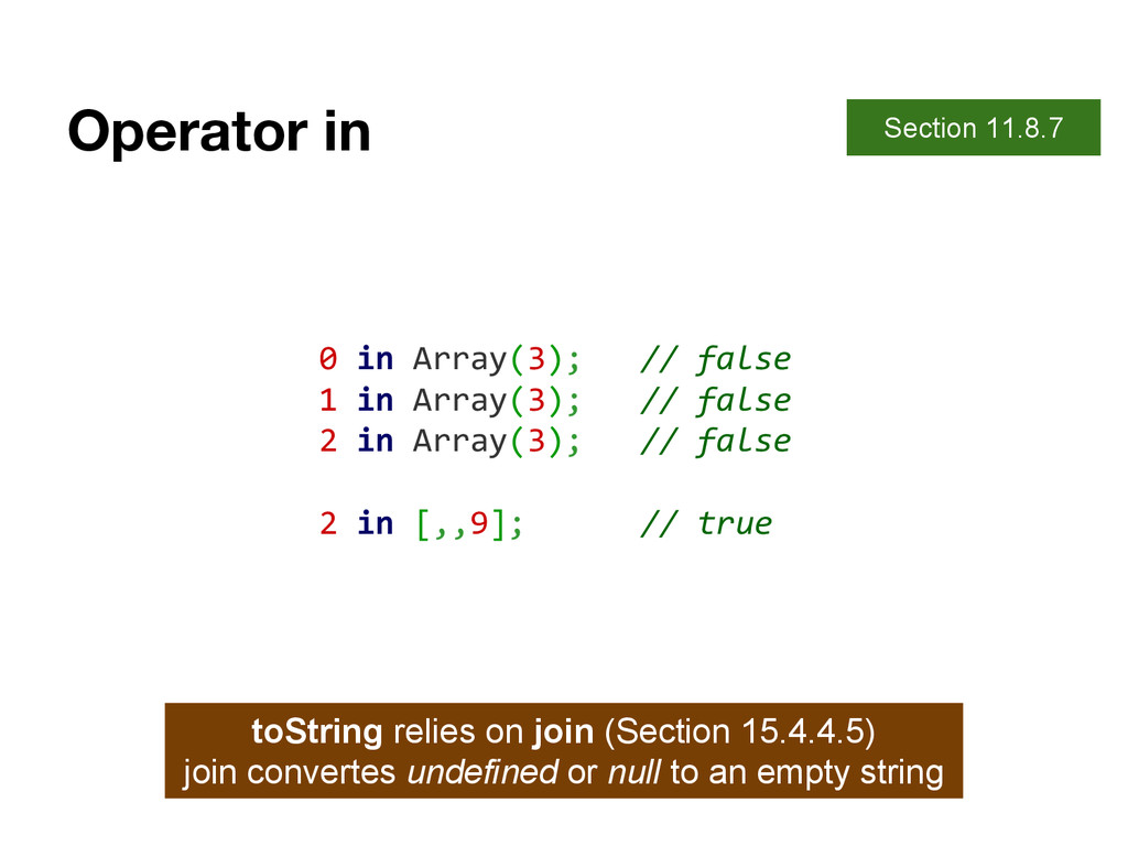 Operator in Section 11.8.7 0 in Array(3); // fa...