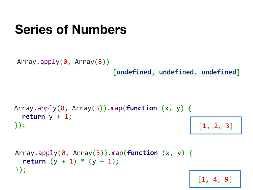 Series of Numbers Array.apply(0, Array(3)).map(...