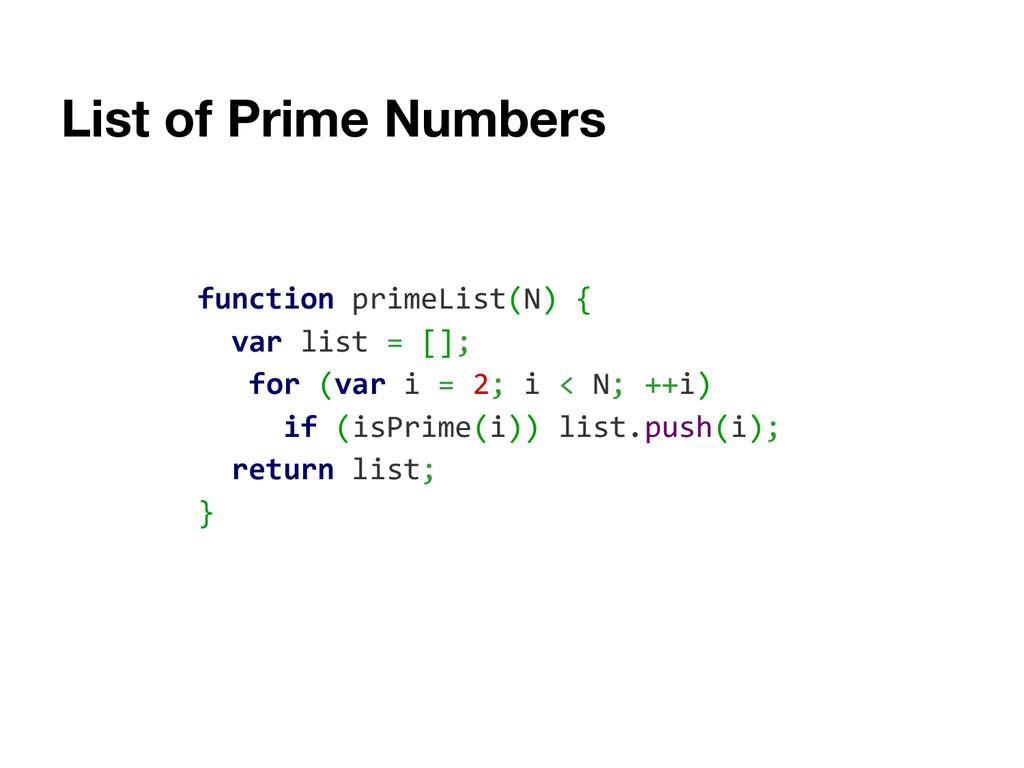 List of Prime Numbers function primeList(N) { v...