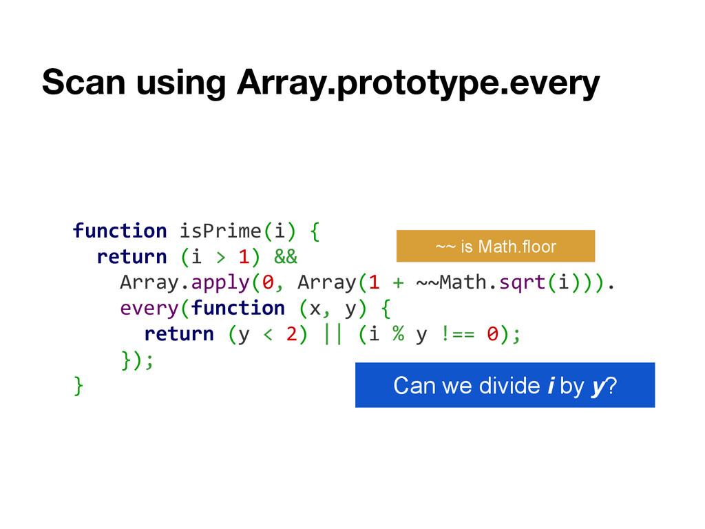 Scan using Array.prototype.every function isPri...