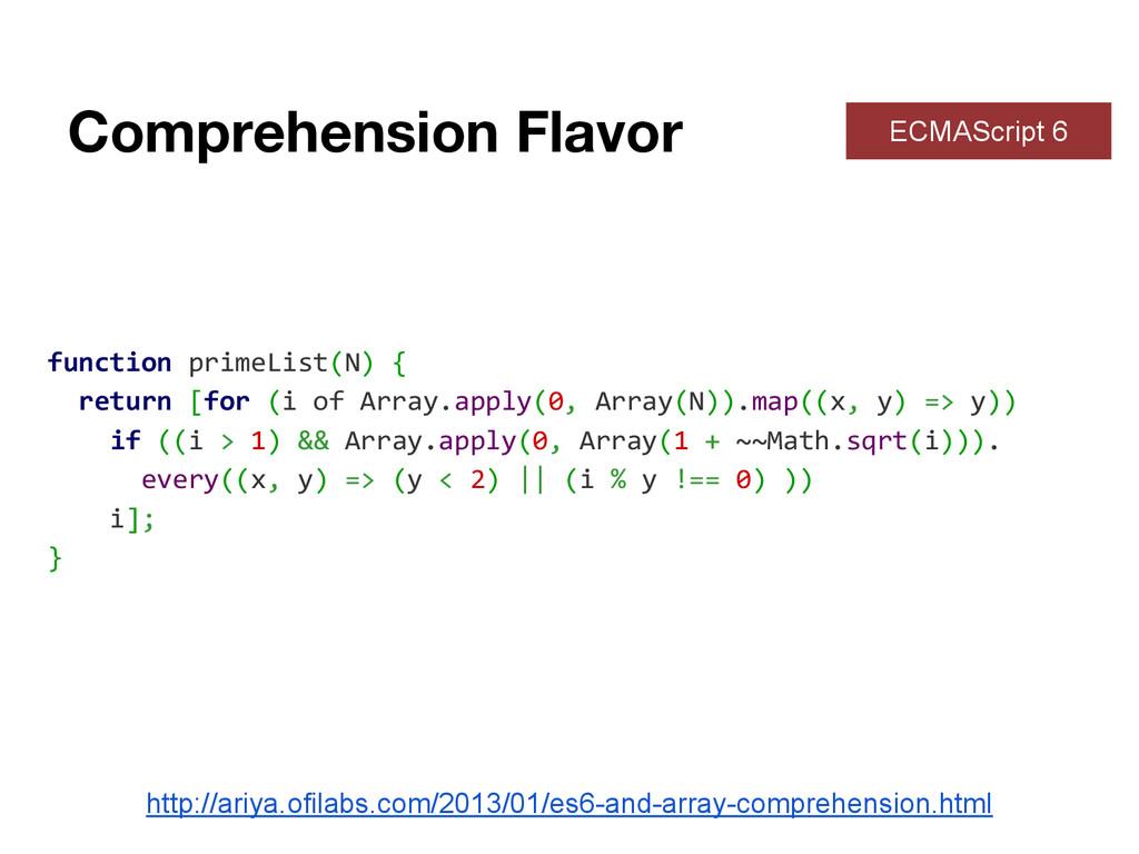 Comprehension Flavor ECMAScript 6 function prim...