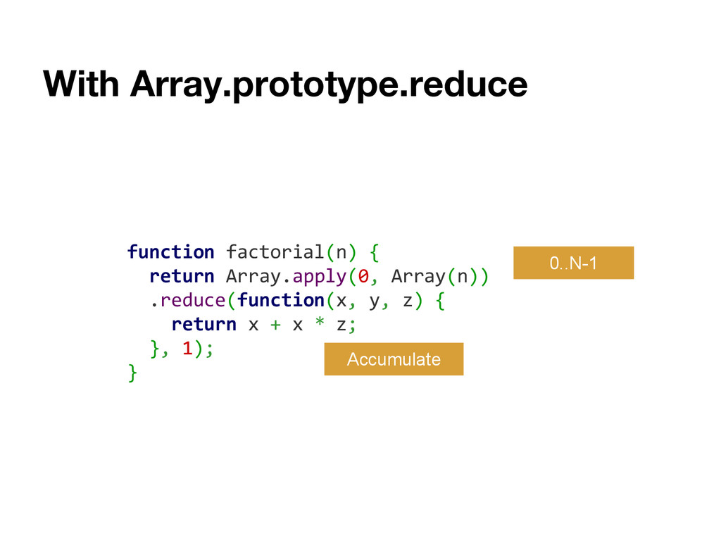 With Array.prototype.reduce function factorial(...