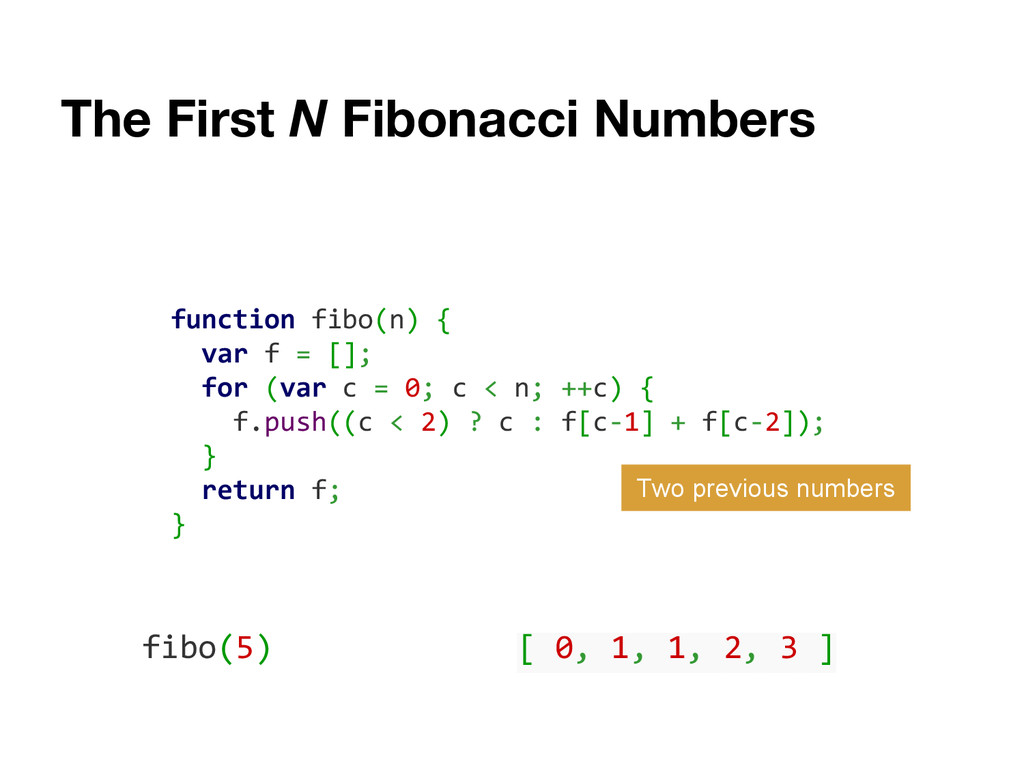 The First N Fibonacci Numbers function fibo(n) ...