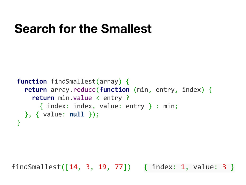 Search for the Smallest function findSmallest(a...