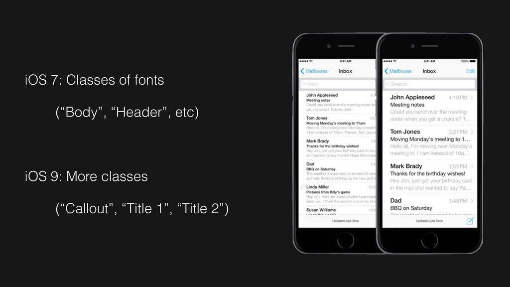 "iOS 7: Classes of fonts (""Body"", ""Header"", etc)..."