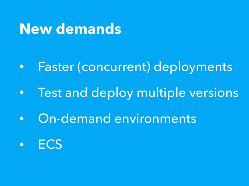 New demands • Faster (concurrent) deployments •...